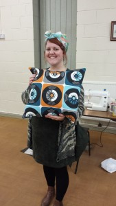 Cushion cover made by a student attending a beginners sewing class
